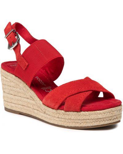 Sandały espadryle - czerwone Marco Tozzi