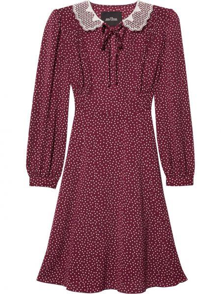 Красное платье макси в горошек с воротником Marc Jacobs