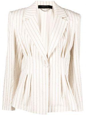 Удлиненный пиджак в полоску с бахромой на пуговицах Federica Tosi