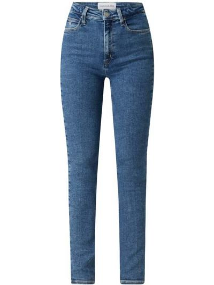 Niebieskie jeansy z wysokim stanem bawełniane Calvin Klein Jeans