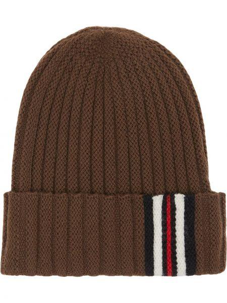 Trykotowy kapelusz klasyczny brązowy Burberry