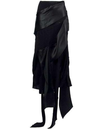 Черная приталенная юбка миди винтажная в рубчик Christian Lacroix Pre-owned