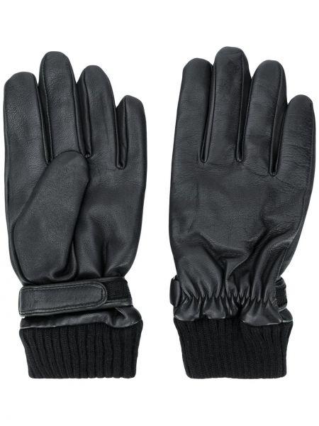 Wełniany czarny skórzany rękawiczki z mankietami wytłoczony Karl Lagerfeld