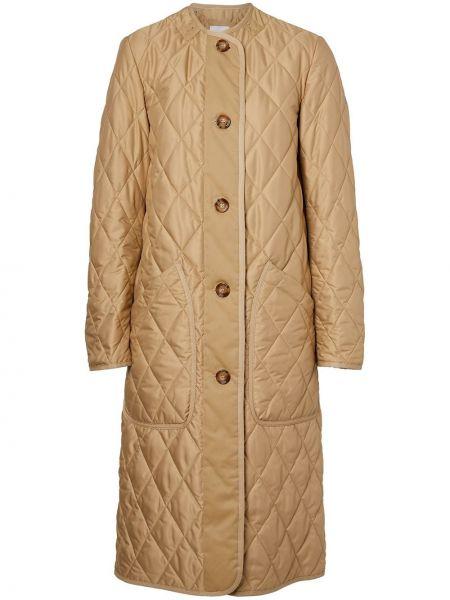 Стеганое длинное пальто на пуговицах с аппликациями Burberry