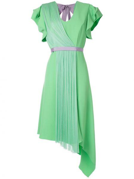 Zielona sukienka asymetryczna z wiskozy Delpozo