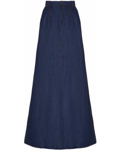Хлопковая синяя юбка макси бохо Veronique Branquinho
