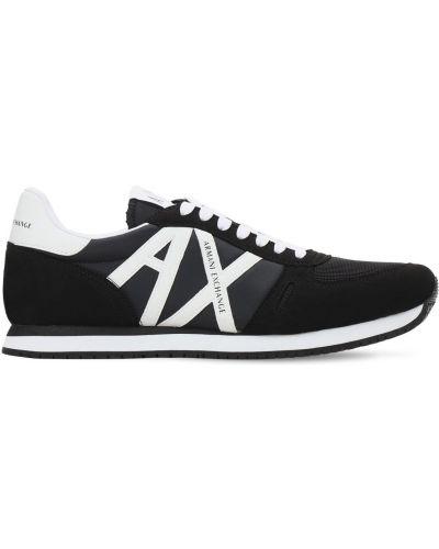 Замшевые кроссовки с сеткой на шнуровке Armani Exchange