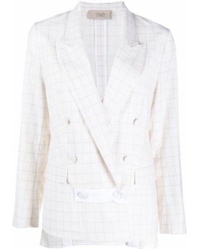 Шерстяной белый пиджак в клетку Maison Flaneur