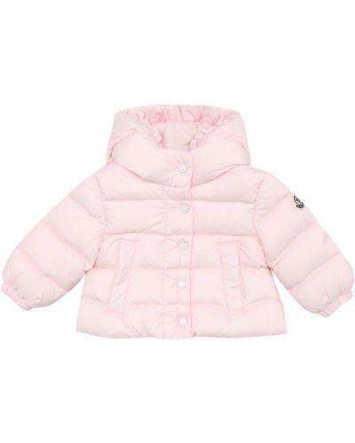 Розовая пуховая дутая куртка Moncler Enfant