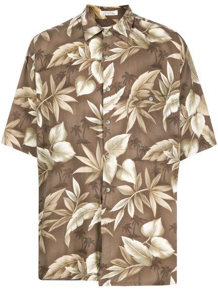 Коричневая прямая рубашка с короткими рукавами с воротником на пуговицах Pierre Cardin Pre-owned