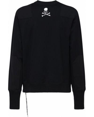 Czarna bluza z haftem skórzana Mastermind World
