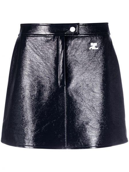 С завышенной талией синяя прямая юбка мини Courrèges