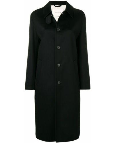 Черное пальто классическое с капюшоном с воротником Mackintosh 0001