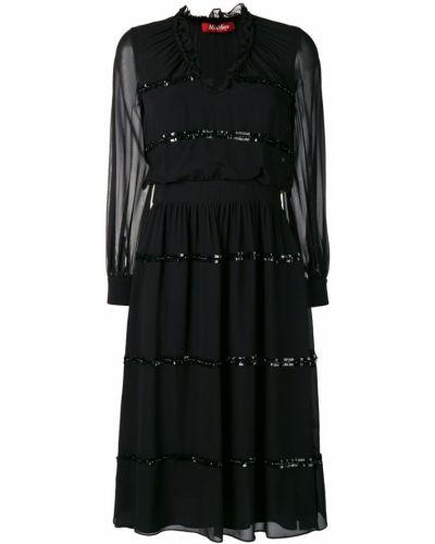 Шелковое платье макси - черное Max Mara Studio