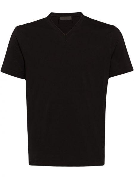 Koszula krótkie z krótkim rękawem rozciągać czarna Prada