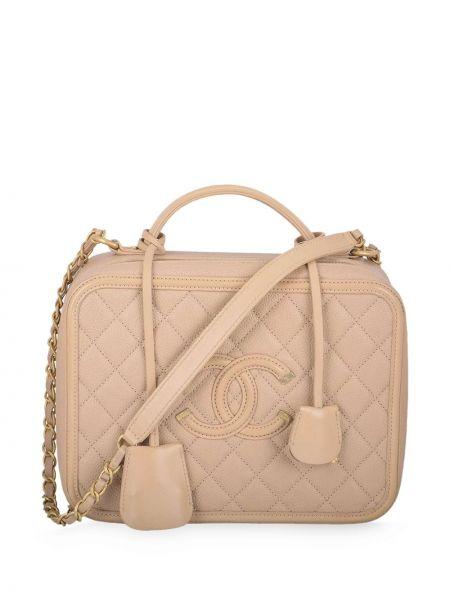 Розовая стеганая большая сумка с вышивкой на молнии Chanel Pre-owned