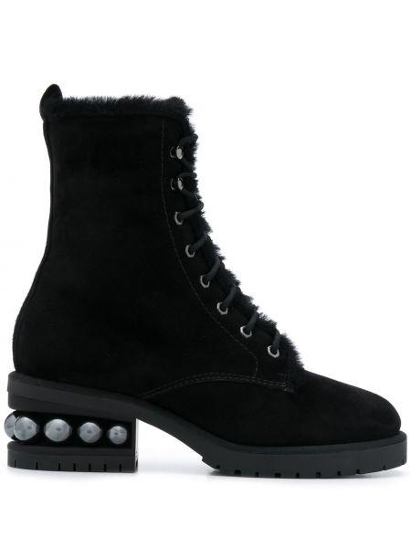 Ażurowy skórzany czarny buty na pięcie zasznurować Nicholas Kirkwood