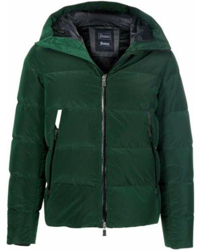 Płaszcz puchowy z kapturem - zielony Herno