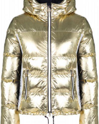 Утепленная желтая куртка горнолыжная на молнии Sportalm