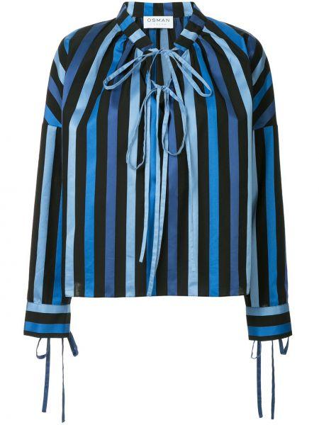 Niebieska bluzka z długimi rękawami w paski Osman