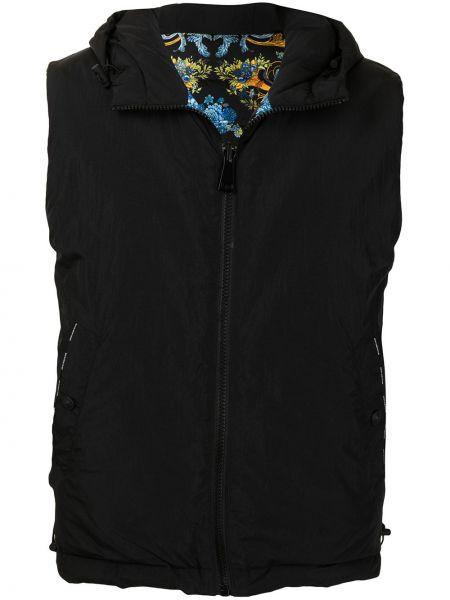 Czarna kamizelka jeansowa z kapturem bez rękawów Versace Jeans Couture