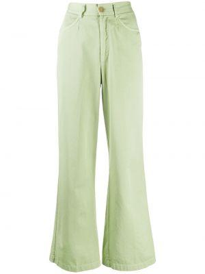 Зеленые свободные укороченные брюки свободного кроя Forte Forte