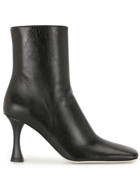 Czarny buty na pięcie na pięcie z prawdziwej skóry kwadratowy Proenza Schouler