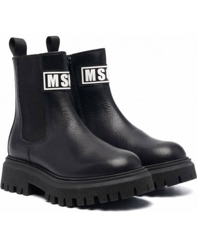 Czarne botki skorzane Msgm Kids