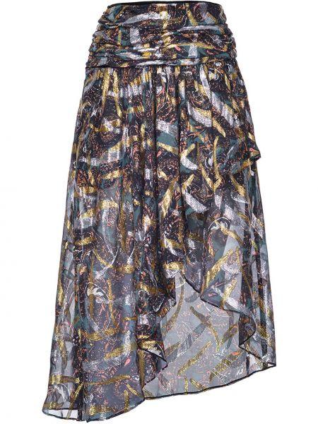 Jedwab czarny asymetryczny spódnica Pinko