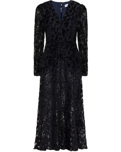 Бархатное черное платье миди с подкладкой Self-portrait