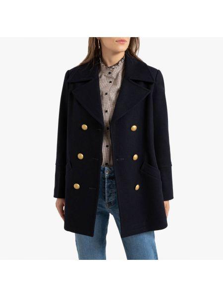 Синее шерстяное пальто с воротником на пуговицах La Redoute