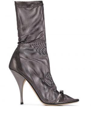 Кожаные черные носки с перфорацией Marco De Vincenzo