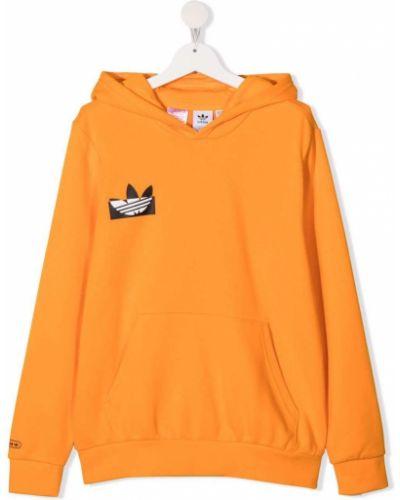 Хлопковое оранжевое худи с капюшоном Adidas Kids
