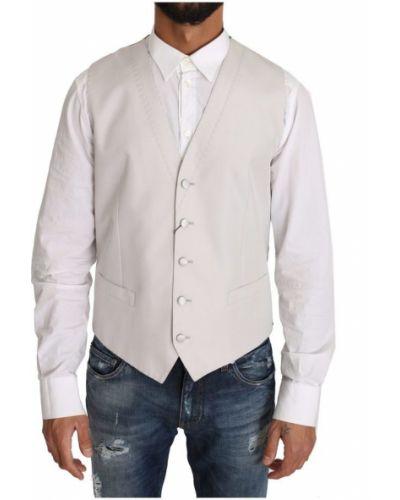 Biała kamizelka z jedwabiu zapinane na guziki Dolce And Gabbana