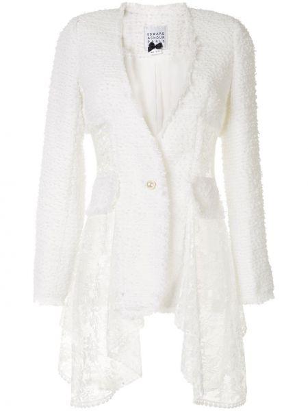 Белый удлиненный пиджак двубортный с карманами Edward Achour Paris