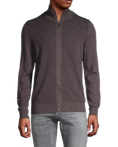 Коричневый шерстяной длинный свитер с воротником Boss Hugo Boss