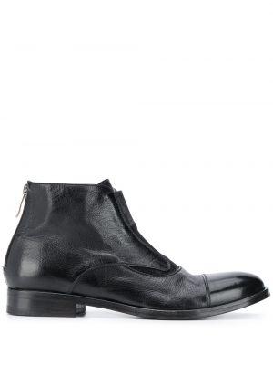 Черные ботинки челси круглые из натуральной кожи на плоской подошве Alberto Fasciani
