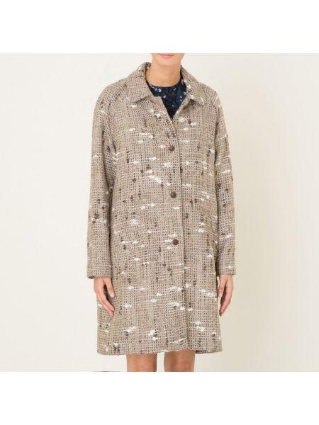 Бежевое длинное пальто оверсайз с воротником из альпаки Diega