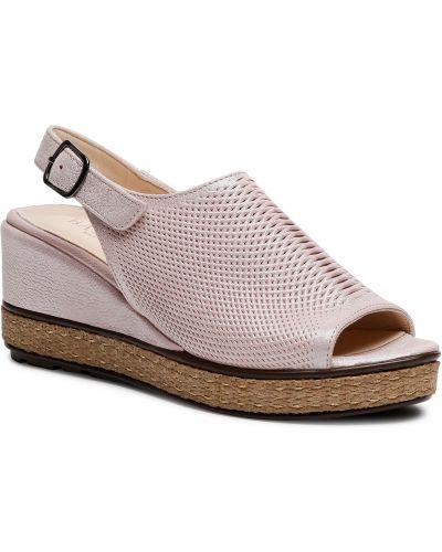 Sandały espadryle - różowe Badura