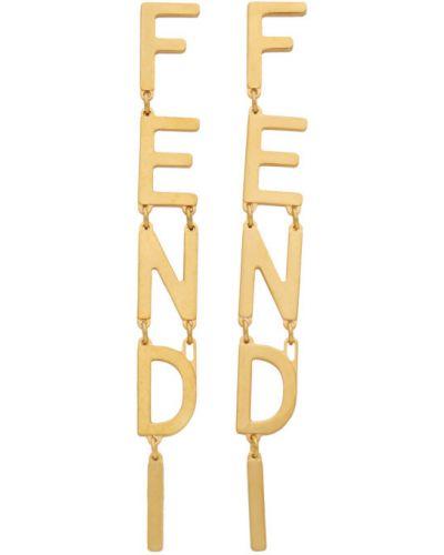 Серьги-гвоздики золотые Fendi