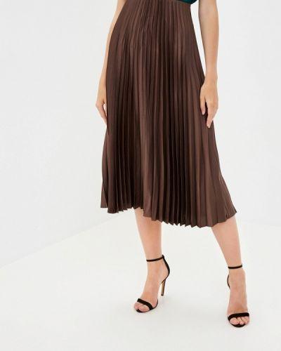 Плиссированная коричневая плиссированная юбка Zarina