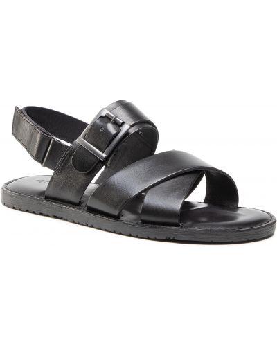 Skórzany czarny sandały Quazi