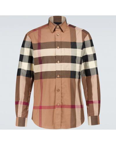 Коричневая хлопковая рубашка стрейч Burberry