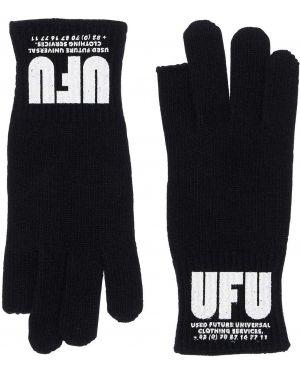 Prążkowane czarne rękawiczki Ufu - Used Future