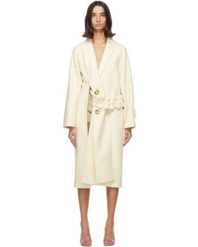 Wełniany długi płaszcz z kołnierzem z kieszeniami z mankietami Off-white