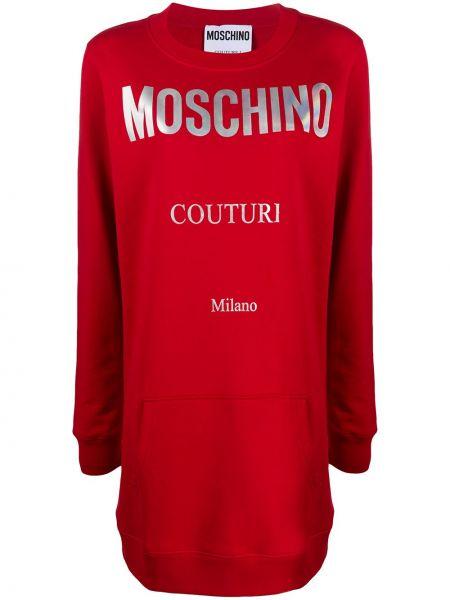 Хлопковое красное платье макси с длинными рукавами Moschino