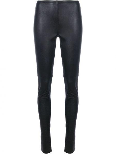 Кожаные черные прямые брюки скинни Vanderwilt