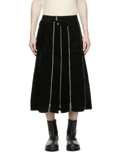 Aksamit czarny spódnica z paskiem z zamkiem błyskawicznym Youths In Balaclava