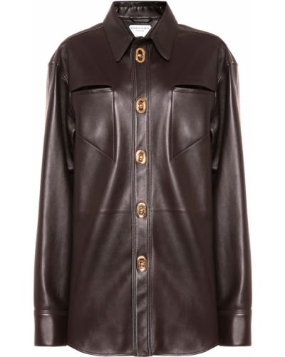 Коричневая кожаная рубашка Bottega Veneta