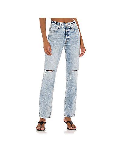 Прямые хлопковые рваные прямые джинсы на молнии Slvrlake